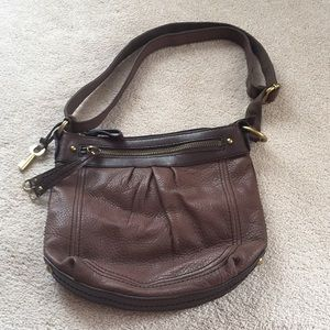 """Fossil Brown Leather Crossbody EUC appx. 11"""" x 11"""""""